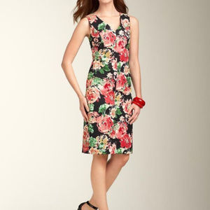 Talbots M 8 Black Pink Floral Shift Dress Career